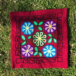 Peru Handmade Floral Pillowcase